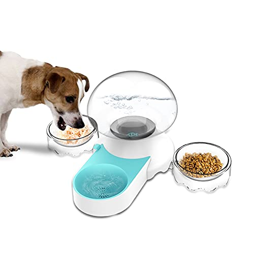 Awpland Bebedero Perro Gatos Automatico, 2 in 1 Dispensador Comida Gatos, 2 de 220ml Comederos Gatos, 2.1L Fuente Agua Gatos Perros.