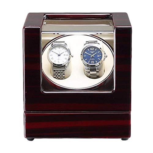 XLAHD Enrollador de Reloj automático, Caja de enrollador de Reloj Doble automático con luz LED Azul Acabado de Pintura de Piano Motor silencioso Adaptador de CA y Alimentado por batería