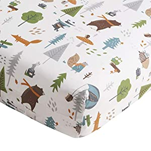 Levtex Baby – Play Day Crib Fitted Sheet – Fits Standard Crib and Toddler Mattress – Tossed Woodland Animals, Trees and Mushrooms – Multi – Nursery Accessories – 100% Cotton