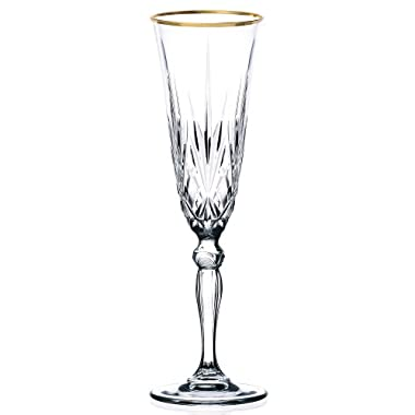 Lorren Home Trends Siena Collection Crystal Flute Glass with Gold Band Design, Set of 4