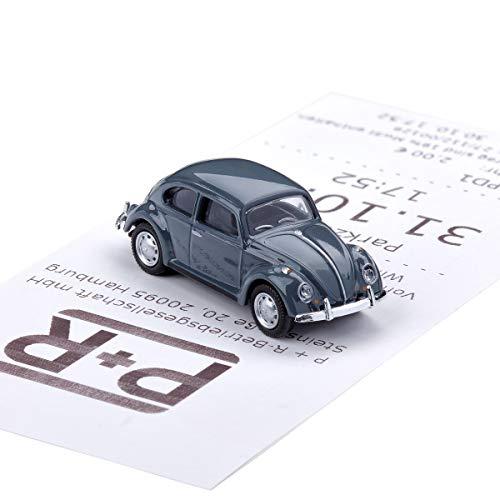 corpus delicti :: Magnetischer Parkscheinhalter für das Armaturenbrett – Modellauto mit Magnet und Selbstklebender Haftscheibe – Kultauto VW Käfer grau (20.10-6)