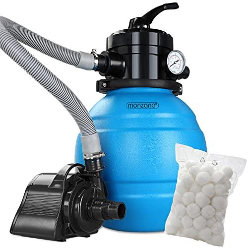 Monzana Sandfilteranlage MZPP05 4,5 m³/h 4 Wege Ventil inkl. 320g Filterbälle Sandfilter Filteranlage Poolfilter