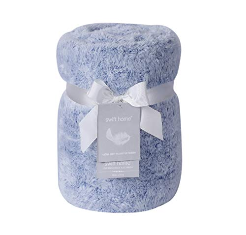 """Swift Home Super Soft Frosted Oversized Plush Faux Fur Throw Blanket, Luxurious Cozy Warm Fluffy Breathable Lightweight for Bed Couch Chair Travel Cuddling, All Seasons, 60 x 70"""" - Blue"""