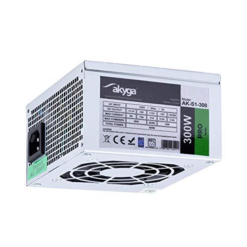 Akyga AK-S1-300 SFX - Fuente de alimentación para PC (300 W, PPFC, P4, 2X SATA, 2X Molex, Ventilador de 12 cm)