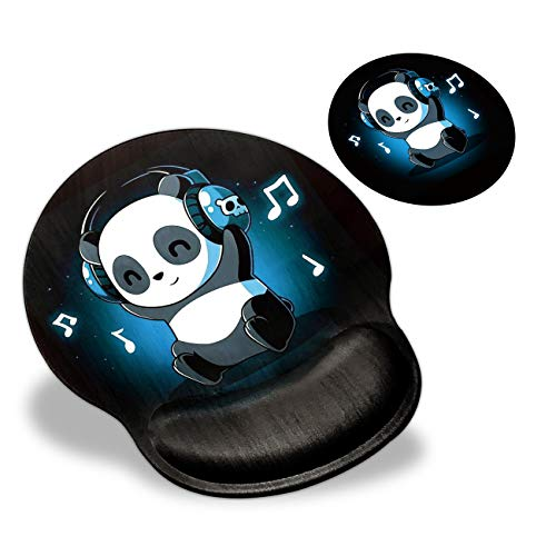 Mouse Pad with Wrist Support, Music Panda Cute Pattern Design Ergonomic Mouse Pads and Coasters, Gaming Mousepad for Laptop Computer Home Office Working & Pain Relief