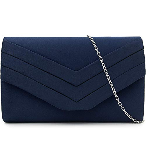 Milisente Mujer Embragues Ante Sobre Bolsa de noche Clásico Cartera de mano (Azul)