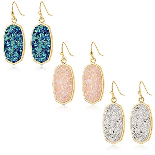 Statement Oval Simulated Druzy Crystal Stone Gold Tone Drop Dangle Earrings for Women and Girls (3 pcs blue, white and pink set)