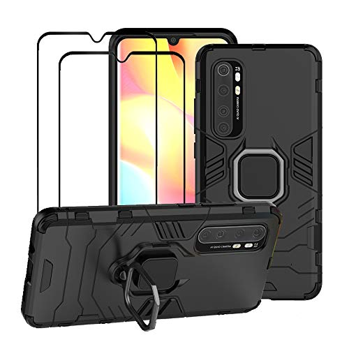 FaDream for Xiaomi Mi Note 10 Lite Case, Rugged Shockproof Dual Layer Heavy Duty Protective Kickstand Cover with [2 Pack] Tempered Glass Screen Protector (Black)