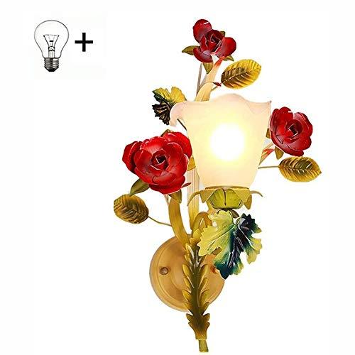 Wandlamp, Country Classic Glazen Muur Light, Floral Design, E14 fitting, Retro Elegant Binnen Woonkamer Slaapkamer Gang Decoration Wandlamp