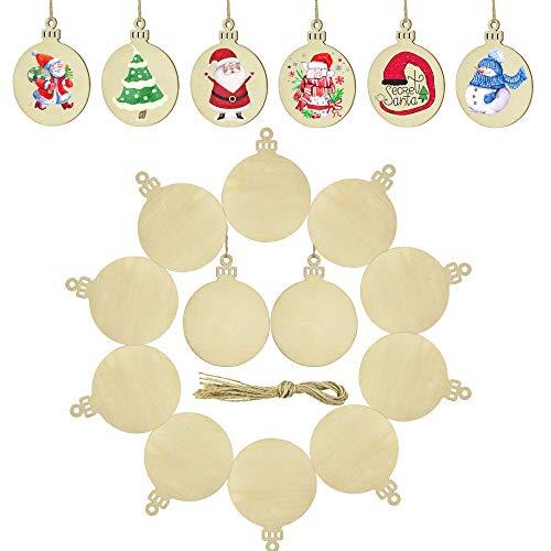 RMENOOR 60 Pcs Navidad Rodajas de Madera 7*9cm Con 60 Cuerdas de 33cm Discos de Madera de Diseño Escribible Adornos de Navidad de Madera para Decoración DIY de Árbol de Navidad Regalos Carteles