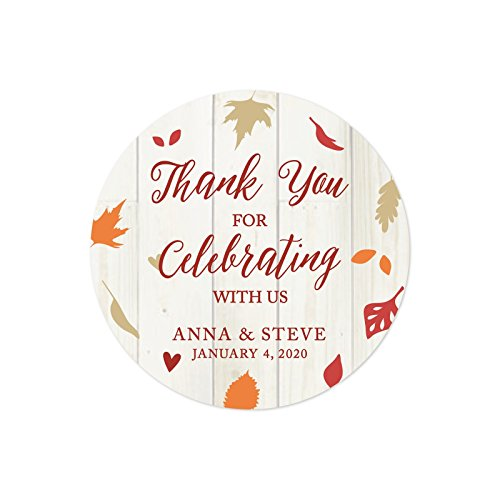Andaz Press Fallin' in Love Autumn Fall Leaves Wedding Party Collection, Personalized Round Circle Label Stickers, Thank You for Celebrating With Us, 40-Pack, Custom Name