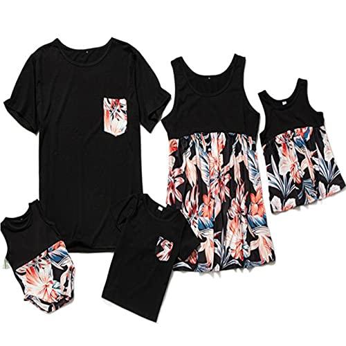 Blommatryck Herr T-shirt Outfit Set Far och Son Familj Mamma och dotter Matchande Maxiklänning Spaghettirem Blommatryck Fritid Ärmlös lång klänning,Black,DadL