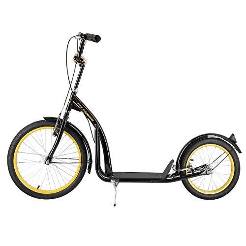 NILS City Scooter Extreme - Patinete (20-16 pulgadas, frenos V-Brake, guardabarros en color negro y dorado)