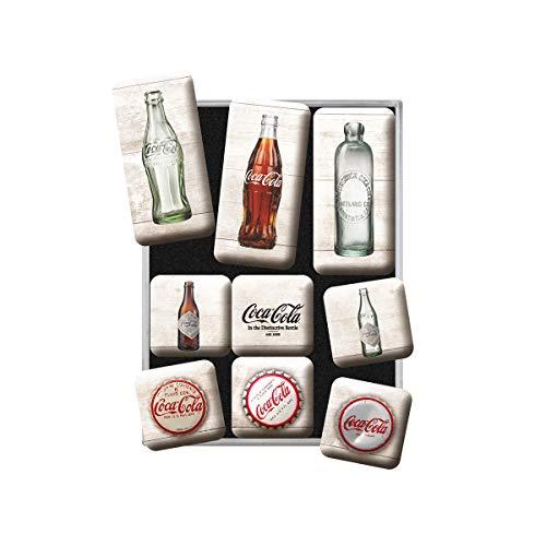 Nostalgic-Art Magnet-Set, Magnetset für Magnettafel, Coca- Cola - Bottle Timeline, 9 Stück