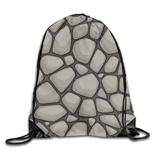 LREFON Gimnasio Bolsas con cordón Mochila Stony Ground Sackpack Tote para almacenamiento de viaje Organizador de zapatos Hombro escolar Compras Adultos