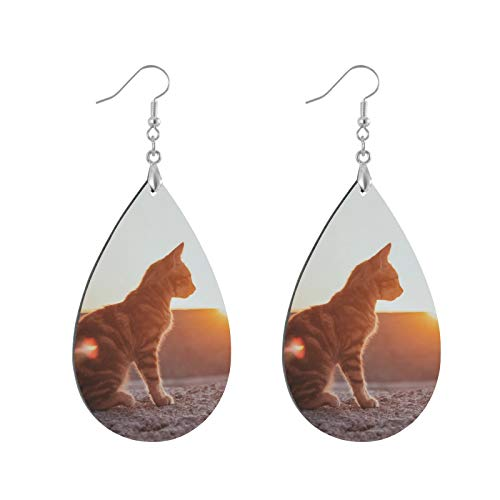Sunset Cat Pet Natural Wood Teardrop Earrings Water Drop Eardrops, Lightweight Pendant Earrings, Ear Studs Bohemia Danglers for Women
