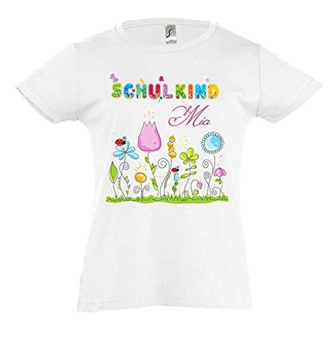 Mein Zwergenland T-Shirt tailliert Mädchen Schulanfang Schulkind 2020 Blumentraum, weiß Gr. 10 Jahre (130-140)