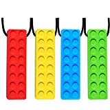 Chew Necklace, Sensory Chew Necklace Bundle for Kids with Teething, ADHD, Autism, Biting Needs, Oral Motor Chewy Teether, Silicone Necklace Made from Food Grade Silicone Safety, for Boys&Girls(4 PCS)