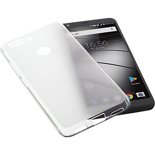 foto-kontor Tasche für Gigaset GS370 / GS370 Plus Gummi TPU Schutz Handytasche transparent weiß