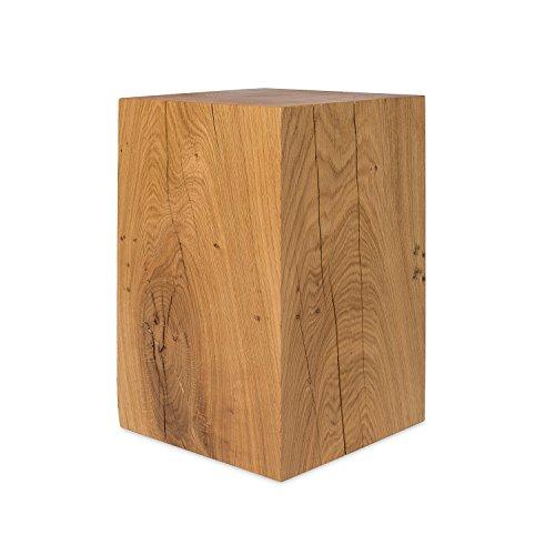 GREENHAUS Holzblock Eiche Massiv 30x30x40 cm Handarbeit und Massivholz aus Deutschland Holzklotz Hocker Beistelltisch