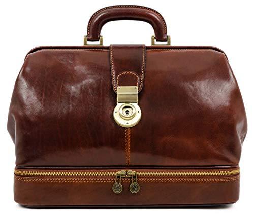 Leather Doctor Bag Briefcase Medical Purse Vintage Key Lock Handbag Brown - Time Resistance
