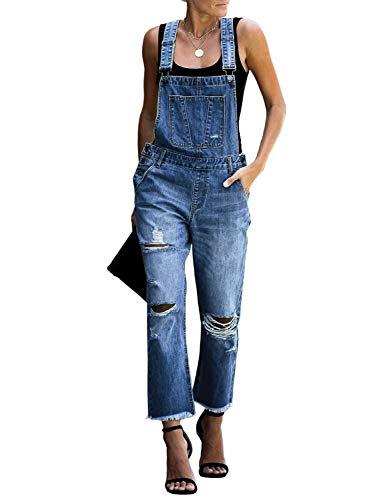 luvamia Women's Casual Distressed Adjustable Denim Bib Overalls Jeans Pants Jumpsuits Denim Blue Size Large