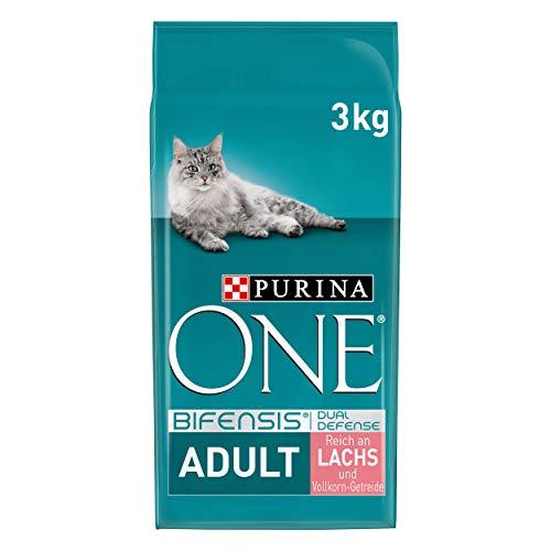 PURINA ONE BIFENSIS Adult Katzenfutter trocken, reich an Lachs, 4er Pack (4 x 3kg)