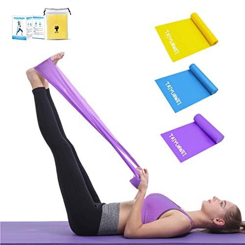 Widerstandsbänder,TAIYUNWEI [3er-Set] Fitnessband, 1,5M hautfreundliche Übungs-Yoga-Bänder mit 3 Widerstandsstufen, Übungsbänder/Gymnastikband für Kraft,Training,Yoga,Pilates, Fitness.