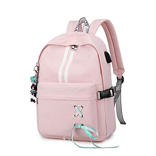 FANDARE Luminoso Mochila Mochilas Tipo Casual Bolsas Escolares Niña Bolsa de Viaje Bolsos de Mujer Adolescente Backpack School Bag Outdoor Viaje Infantiles Daypack Poliéster Rosado