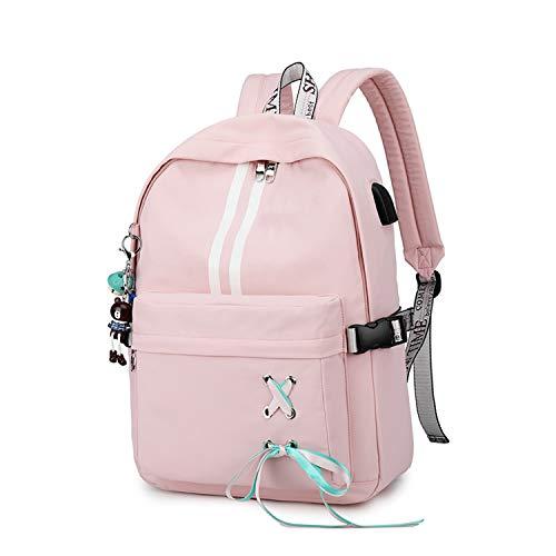 FANDARE Girls Backpack Casual Daypacks Luminous School Bag Laptop College Backpack Women Travel Rucksack Outdoor Travel Bookbag fits 15.6 inch Notebook Haversack Waterproof Polyester Pink