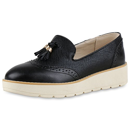 SCARPE VITA Damen Slipper Loafers Profilsohle Plateau Quasten Schuhe Metallic 139147 Schwarz Creme 38