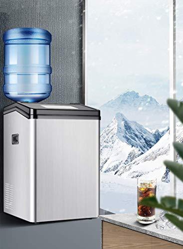 BECCYYLY Gewerbliche Haushalts-Eismaschine, 55kg Arbeitsplatte Automatische E-Eismaschine für Shop-Bar-Tischwasser-Injektions-Tap/Flaschenwasser wmpa