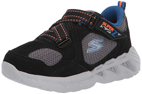 Skechers Kids Boys' Magna-Lights-Zowlex Sneaker, Black/Blue/Orange, 9 Medium US Toddler