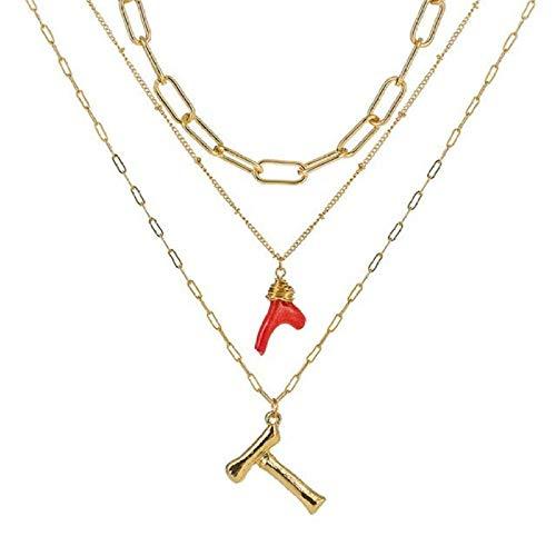 Pmhhc Chic Red Coral Bamboo 26 Buchstaben Anhänger Halskette Lange mehrschichtige Anhänger Mode Link Kette für Frauen Hochzeitsgeschenke-T.