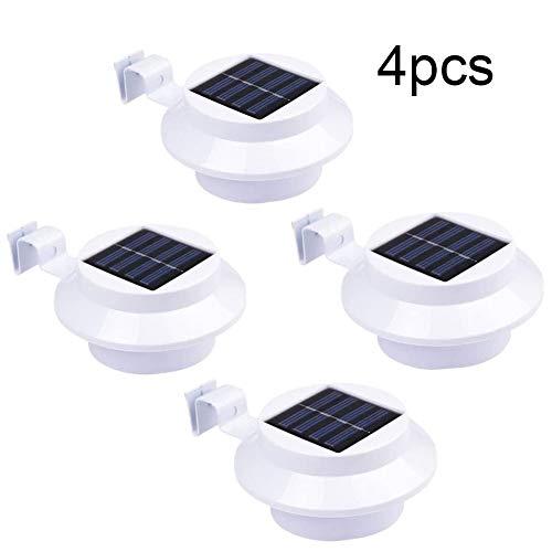 Solar Strahler 4er Set, 3 Led Solarlampen mit Bewegungsmelder - Wasserfest Solarleuchte Außen Solarpanel Strahler für Garten, Gartenhaus und Werkstatt (3 LED, 4er Set)