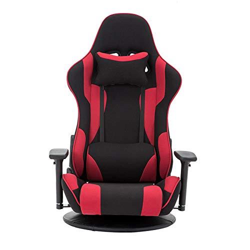 JXHD Silla ergonómica para videojuegos/E-Sports - Silla de videojuegos con suelo y cama 170° reclinable, sin piernas, color rojo o azul opcional, rojo - B