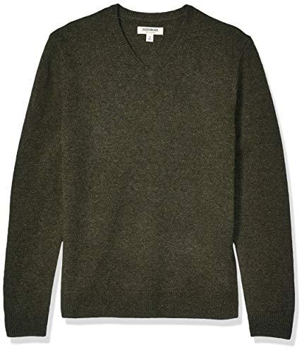 Amazon Brand - Goodthreads Men's Lambswool V-Neck Sweater, Olive Medium