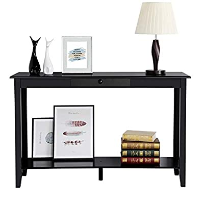 Yaheetech 2 Tiers Wood Console Sofa Table with Drawer and Shelf Living Room Entryway Furniture, Black