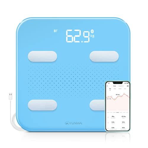 YUNMAI Bilancia Pesapersone Digitale, Bilancia Impedenziometrica Bluetooth Bilancia Pesa Persona Digitale con 10 Indici di Massa Grassa, BMI, Massa Muscolare, Proteine con App per IOS e Android