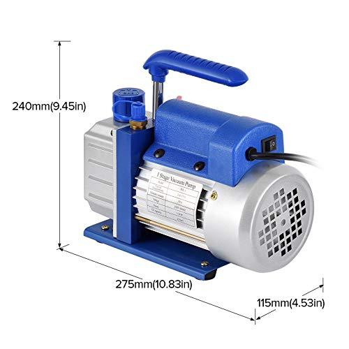 Kwasyo 3CFM Pompe à Vide et Collecteur Réfrigération Faible Bruit Jauge Ensemble/Manifold Gauge 1/4HP 85 Lt/Min, Entilation et Climatisation A/C Réfrigération Kit – Idéal pour R22 R134a R410A R407C
