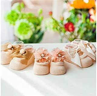 Lovely Socks 3 Pairs Children Cotton Socks Kids Spring Flower Bow-Knot Anti-Slip Floor Short Tube Socks (Purple) Newborn Sock (Color : Khaki)