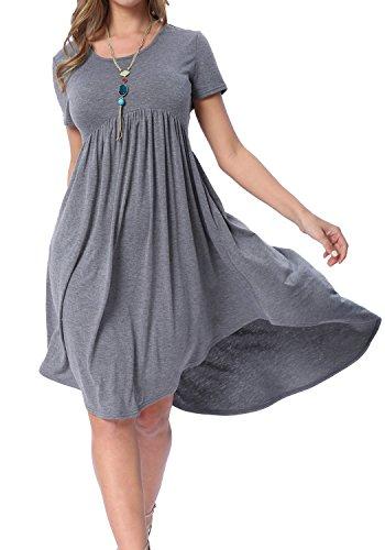 levaca Womens Tunics Hi Low Plain Simple Loose Casual T Shirt Dress Dark Gray M