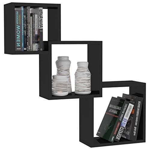 Festnight Cube Wandregale Hochglanz-Schwarz 84,5×15×27 cm Spanplatte Bücherregal zur Wandmontage