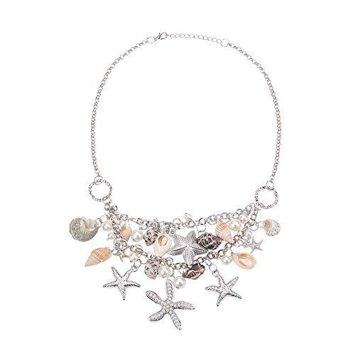 PandaHall Shell Halsketten Sommer Sea Shell Starfish Faux Pearl Halsketten Erklärung Chunky Beach Frauen Halskette Kragen Anhänger Meerjungfrau Kostüm Halskette