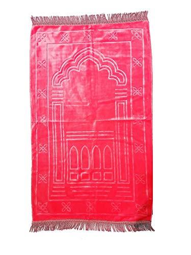 Tapis de prière - Tapis Musulman Type Velours - 110cm x 65cm (Rose avec Motif)