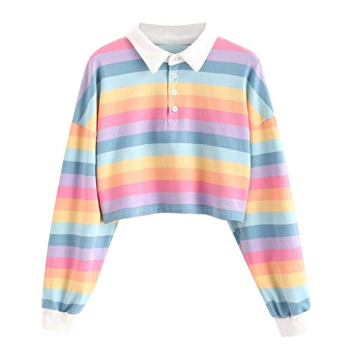SHOBDW Camisa de Manga Larga Crop Top Solapa Raya Estampada Suéter Corto Caliente Sudadera Jersey para Niñas y Mujeres Invierno Mujer Abrigos Deportivos Liquidación Venta(Rosado,S)