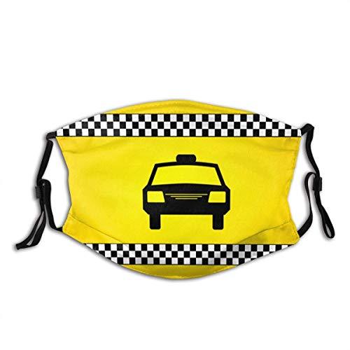 TABUE Mundschutz Gesichtsschutz Version Taxi Checkers Clipart Sturmhaube Gesichtsschal Mundschal Wiederverwendbarer Staubschutz mit 2 Filter
