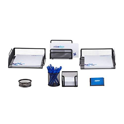 Relaxdays Schreibtisch Organizer Set, 7-teilig, Metall, Schreibtisch-Set, Briefablage, Zettelbox, Stifteköcher, schwarz