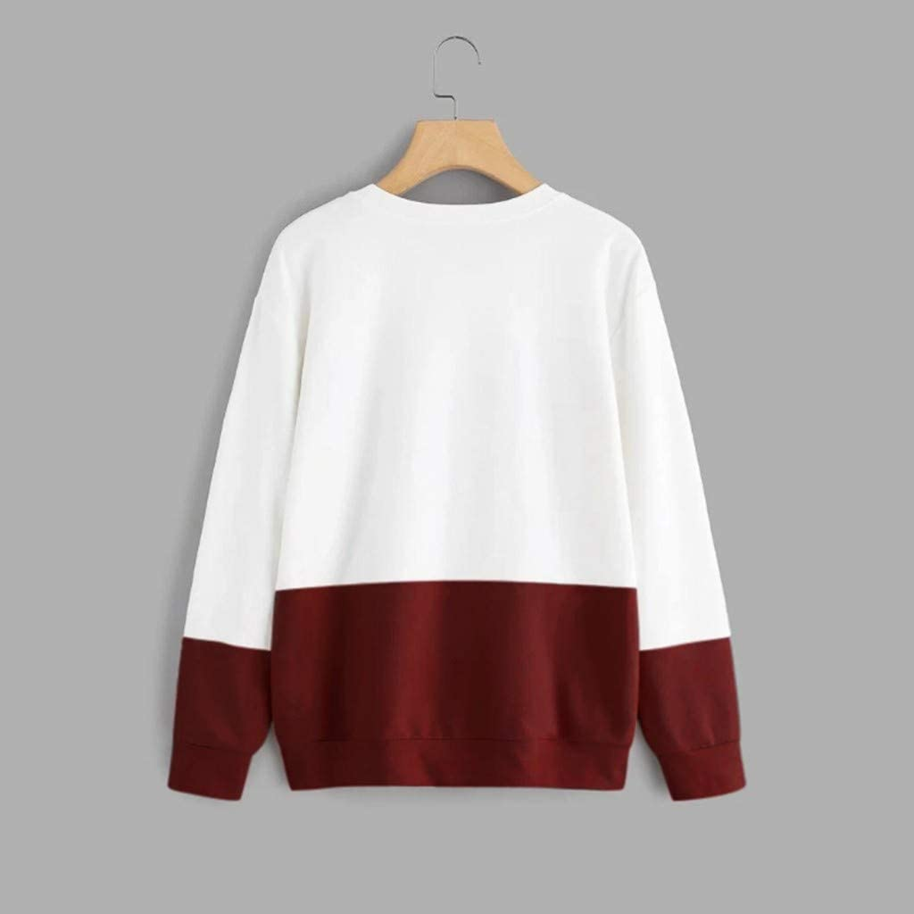 Photno Womens Color Block Cat Print Sweatshirt Casual Long Sleeve Round Neck Pullover Tops Blouse Sweater