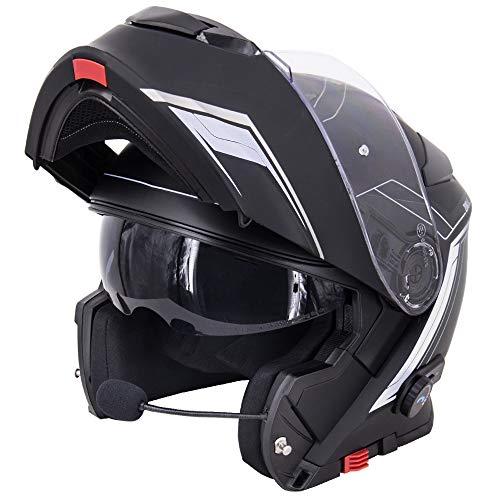 Zorax Matt Black/Silver M (57-58cm) ZOR-727 BL-A4 Anti-fog Visor Flip up Motorbike Bluetooth Helmet...